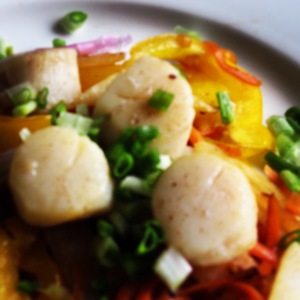 Skillet Scallops with veggie spirals